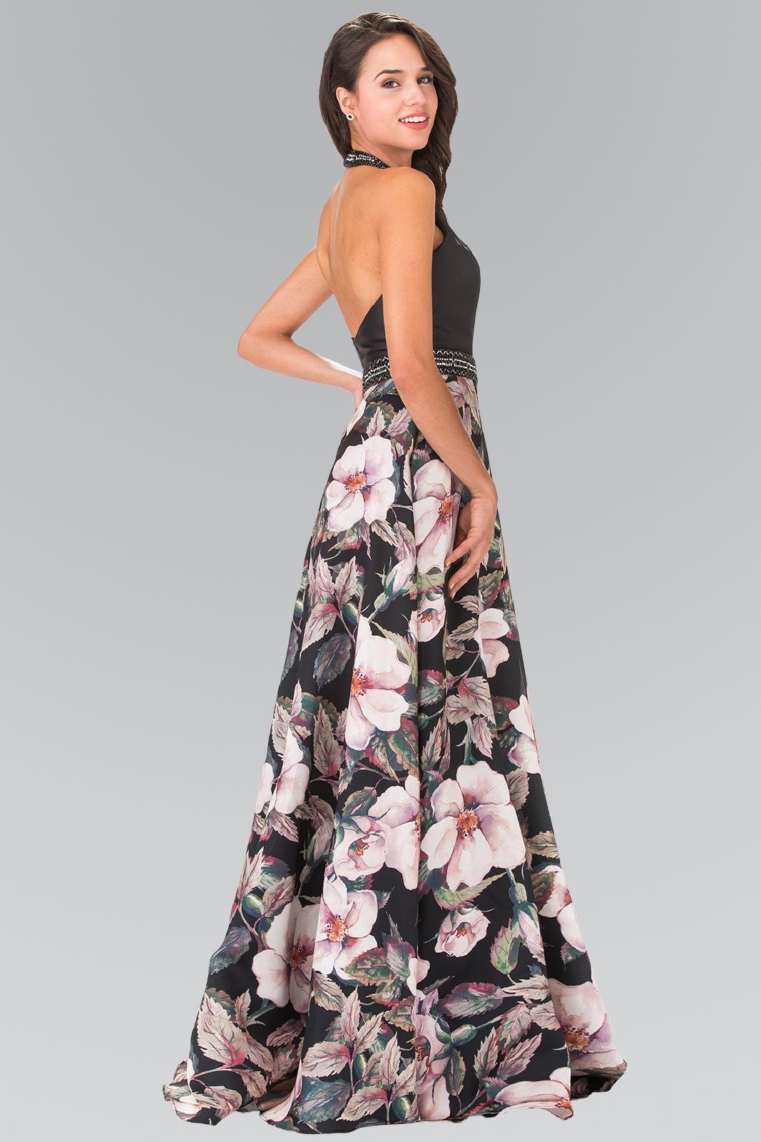 lang kjole med blomstertryk
