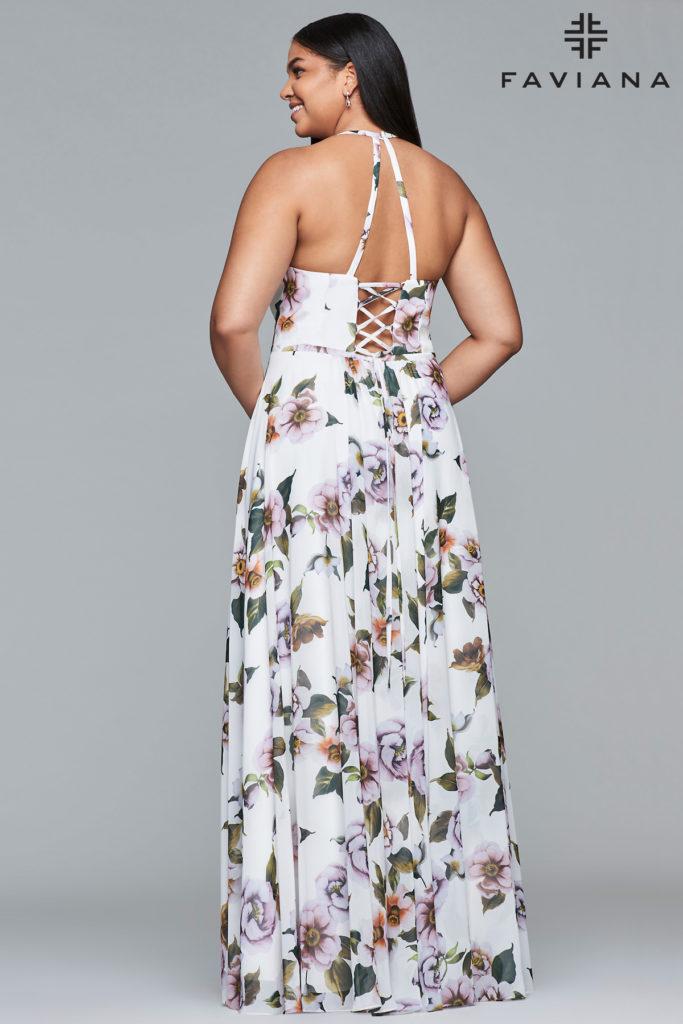 Plus size blomster print kjole