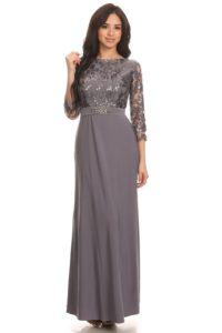 grå kjolen til sølvbruden med ærmer